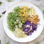 Bowl saludable con col lombarda y germinados