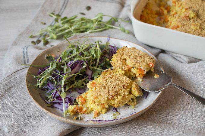 Pastel de mijo con zanahoria y puerro