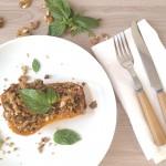 Calabaza asada rellena de quinoa y champiñones