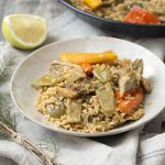 Paella de verduras con arroz integral y la importancia de los cereales integrales