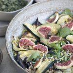 Ensalada de lentejas germinadas con higos y aliño de mostaza
