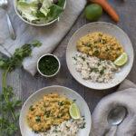 Curry de coco, boniato y garbanzos con arroz basmati integral
